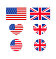 uk and usa flags us-british union icon for vector image