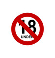 under 18 sign vector image