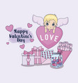 valentine day card with cupid and set icons vector image vector image