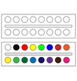 watercolor paints in a box with a brush vector image