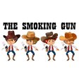 western theme with cowboy shooting guns vector image