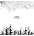 winter christmas card monochrome stain watercolor vector image
