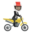 Woman riding motorcycle at night vector image vector image
