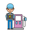 worker man with battery pump station automotive vector image vector image