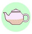 cute outline purple teapot icon teapot with tea vector image