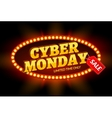 Cyber Monday sale retro light frame vector image