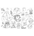 Hand drawn christmas elements set vector image
