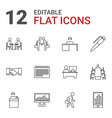 12 meeting icons vector image vector image