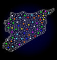 2d mesh map of syria with glare spots for vector image