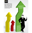 3D progress arrows with businessman vector image vector image