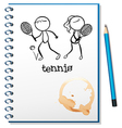 A notebook with a sketch of a boy and a girl vector image vector image
