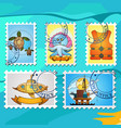 a set of stylized for postage stamps on the theme vector image vector image