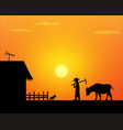 back to home alone life farmer in countryside vector image vector image