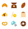 bakery icons set flat style vector image vector image