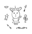 beautiful rabbit the fairy in a crown vector image