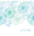 blue line art flowers horizontal frame seamless vector image vector image