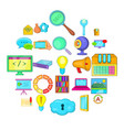 business insight icons set cartoon style vector image