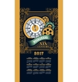 Calendar 2017 steam punk vector image vector image