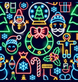 christmas neon seamless pattern vector image