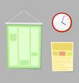 classroom accessories clock and board vector image vector image