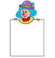 clown holding blank board vector image