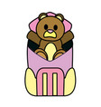 color bear teddy toy inside backpack style vector image vector image