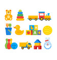 colorful toys for infant kids vector image