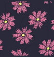 contrast floral pattern with doodle pink flowers vector image vector image