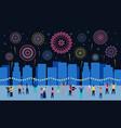 crowd watching fireworks dark night city vector image vector image