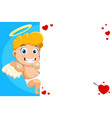 cupid angel stands smiling on a white copyspace vector image vector image
