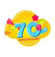 cute cartoon template 70 years anniversary vector image vector image