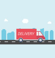 delivery car on the road with city background vector image