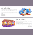 eid al adha holiday internet pages templates set vector image