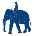 elephant with rider silhouette on white background vector image vector image