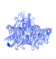 four graphic tigers standing and walking among the vector image vector image