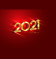 golden 2021 new year 3d logo for holiday red cards vector image vector image