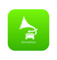 gramophone icon green vector image vector image