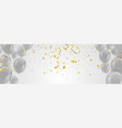 gray balloons and glitter festive banner vector image