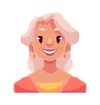 Grey haired old lady smiling facial expression vector image