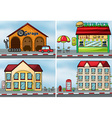 Houses and shops vector image vector image