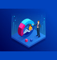 isometric man and woman interacting with charts vector image