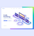 link building isometric landing page seo method vector image vector image