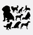 Little and large dog pet animal silhouette vector image vector image