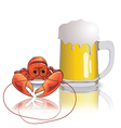 lobster and mug of beer vector image vector image