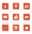 marinate bbq icons set grunge style vector image