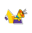 megaphone with credit card and arrow up vector image