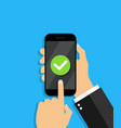 mobile phone with tick success update vector image vector image