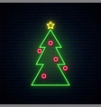 neon christmas tree sign bright lightning vector image vector image