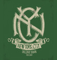 new york city grunge t-shirt print design vector image vector image