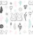 pastel seamless pattern with hand drawn dogs and vector image vector image